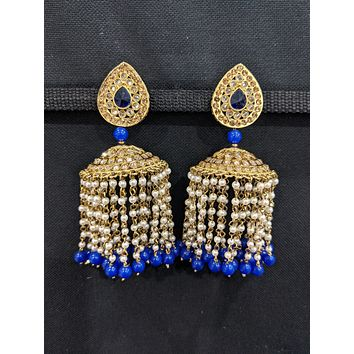 XXL size Polki stone Designer jhumka earrings