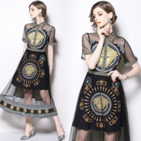 VERSACE Fashion Women Temperament Lapel Short Sleeve Slim Dress