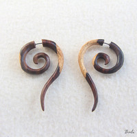 Tribal Fake Gauge Wood Earring, Spiral Fake Taper Earrings, Tailed Spiral Wooden Earring