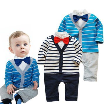 The spring and autumn period and the latest 2016 male baby cotton gentleman bow tie long-sleeved dress cute upgrades handsome oh