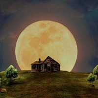 5D Diamond Painting Lone House Moon Kit