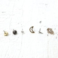 With Love From CA Hamsa, Moon & Flower Stud Earring Set - Womens Jewelry - Gold - One