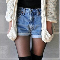 Blue and Light Blue high wasted Shorts!