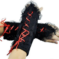 Short Red Lace Up Gothic Gloves Lolita Arm Warmers