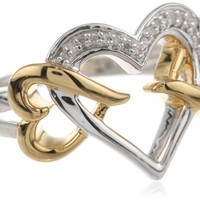 18k Gold Plated Sterling Silver Diamond Heart Ring (1/20 cttw), Size 8