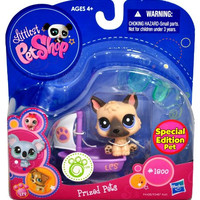 """Hasbro Year 2010 Littlest Pet Shop """"Special Edition Pet"""" Bobble Head Pet Figure Set #1800 - German Shepherd Puppy Dog with Sail Boat and Sunglasses (94428)"""
