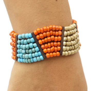 Turquoise Orange Beige Bracelet Handmade Jewelry Bead bracelet women thick bracelet best friend bracelet friendship bracelet boho jewelry