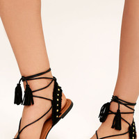 Dharma Black Suede Studded Lace-Up Sandals