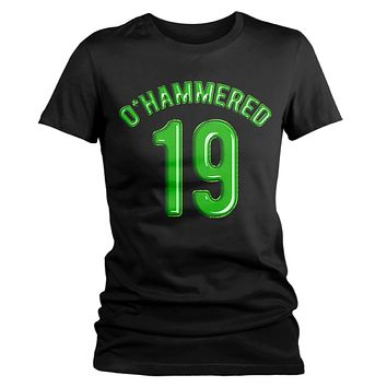 Women's Funny O'Hammered T-Shirt Drinking St. Patrick's Day Shirts Graphic Tee Beer Drunk Tshirt Hipster TShirts