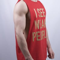Weak People Cut Off T Shirt - Red