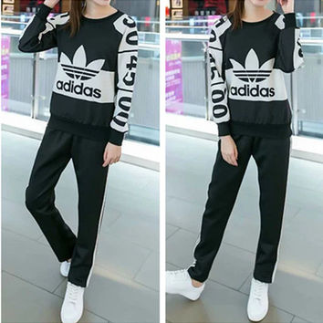 """Adidas"" Fashion Casual Clover Letter Print Multicolor Long Sleeve Set Two-Piece Sportswear"
