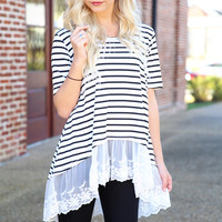 stripes and lace top