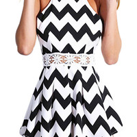 Black Chevron Print Romper with Lace Cutout