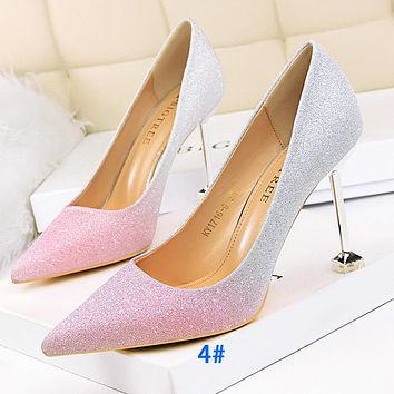 Fashionable high-heeled high-heeled shallow mouth pointed color matching shiny color gradient sequins thin women's shoes pink