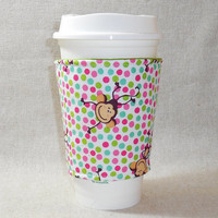 Adorable Polka Dot and Monkey Slide-On Coffee Cozy