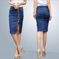 2015 new style elastic slim Europe and America style women's fashion slit jean skirt(S-4XL) = 1958342340