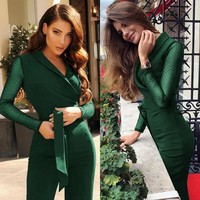 Spring New Fashion Women Jumpsuits Long Sleeve Polka Dots Patchwork Elegant Jumpsuit feminine Bodycon Jumpsuits One Piece Tops