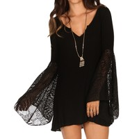 Black Lace Bell Sleeve Tunic
