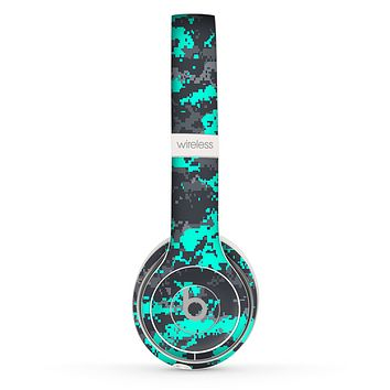 The Bright Teal and Gray Digital Camouflage Skin Set for the Beats by Dre Solo 2 Wireless Headphones