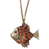 Etched Fish Shape Pendent Necklace