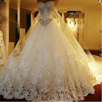 Sweetheart Sparkly Bling Crystal Princess Cathedral/Royal Train Wedding Dress Luxury Bridal Gown with Big Bow
