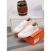 HERMES  Men Fashion Boots fashionable Casual leather Breathable Sneakers Running Shoes0406GH