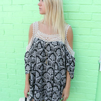 Provincetown Open Shoulder Crochet Ruffled Hem Black Damask Print Tunic