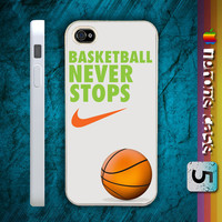 Nike Basketball Never Stops custom hard black / white plastic cover iphone 4/4s and iphone 5 case 2