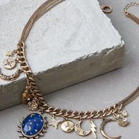 AEO Blue Pendant Charm Necklace, Gold