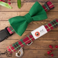 Dog Bow Tie In Christmas Tartan Plaid With Options For Dog Collar, Dog Leash