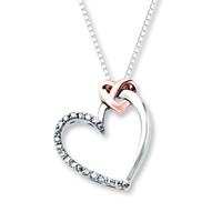Heart Necklace 1/15 ct tw Diamonds Sterling Silver/10K Gold