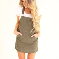 MOON CHILD OVERALL DRESS- OLIVE
