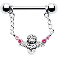 Silver 925 Pink Guardian Angel Nipple Ring MADE WITH SWAROVSKI ELEMENTS | Body Candy Body Jewelry