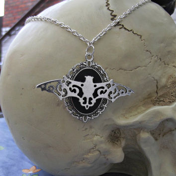 Bratty Bat | Filigree Cameo | Silver | Chain Necklace | Gothic | Witch