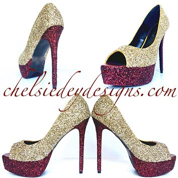 Burgundy Glitter Peep Toe Pumps - Red Champagne Open Toe Wedding High Heels