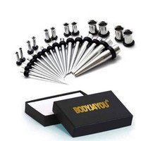 32pcs Ear Tunnel Gauge Stretching Kit Taper Set 14G-0G GIFT BOX Ear Piercing
