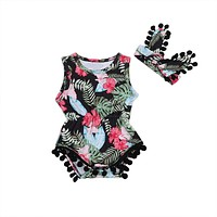 born Baby Girl Floral Romper + Headband Outfits Floral Clothes Set