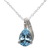 "925 Silver 2ct Blue Topaz & Diamond Necklace 18"" chain - Teardrop Swoosh"