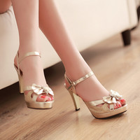 2015 summer style fashion chaussure femme female party date gold silver gladiator sandals women shoes at high heels Buckle