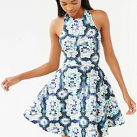Floral Print Halter Pleated Dress