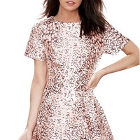 Pink Sequined Bodycon Skater Dress