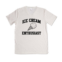 Ice Cream Enthusiast Funny Chocolate Vanilla Dessert Popsicle I Scream Lover Meal Time Kids Family Day Out Park Unisex Adult T Shirt SGAL1 Unisex V Neck Shirt