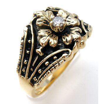 10K Yellow Gold Diamond Flower Ring Size 7