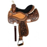 """15"""" Double T barrel saddle with rawhide braided horn and silver star conchos"""