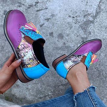 New round head retro tassel printing color matching ladies shoes
