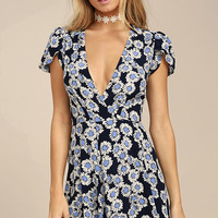 Rollas Dancer Navy Blue Floral Print Wrap Dress