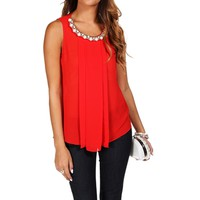 Red Embellished Blouse