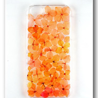 Handmade iPhone 5/5S case, Resin with Dried Flowers, Orange Hydrangea
