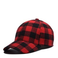 2017 Red and Black Plaid Baseball Caps Dad Hats for Men Hip Hop Cap Sun Hat for Women Bone Gorras Touca High Quality