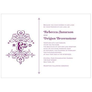 Fanciful Monogram Invitation Indigo Blue (Pack of 1)